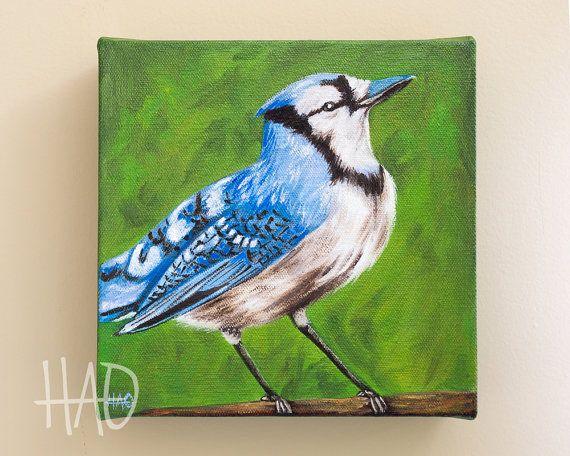 Blue Jay Painting Original Oil Painting by HeatherAnnOrlando