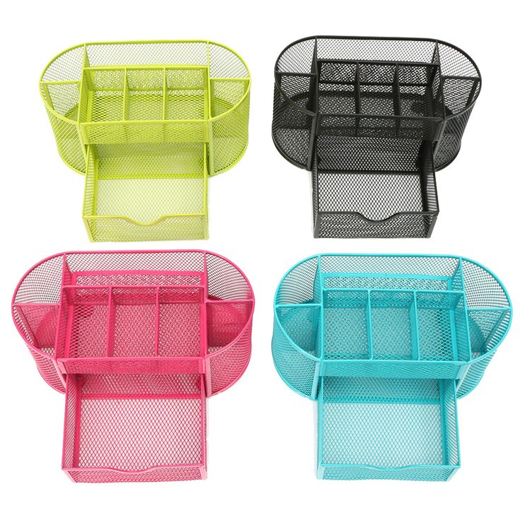 22 11 10 5cmnew Multifuction Stationery Desk Organizer 9 Cells Metal Mesh Desktop Office