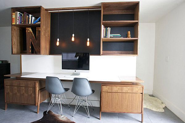 Creative Home Office Decorating Ideas --- Striking lighting in a modern industrial home office