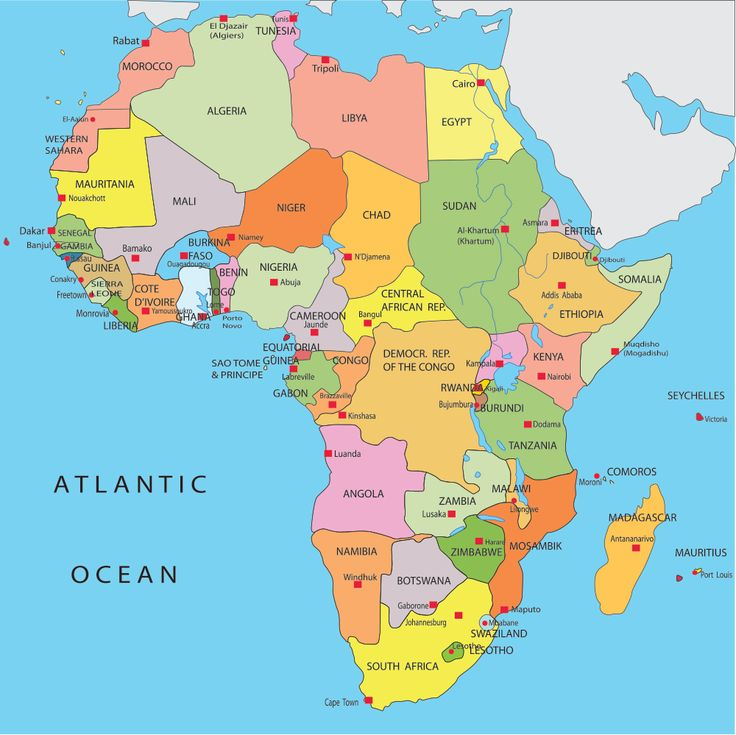 africa map countries and capitals - Google Search | WHEN ... African Countries Map