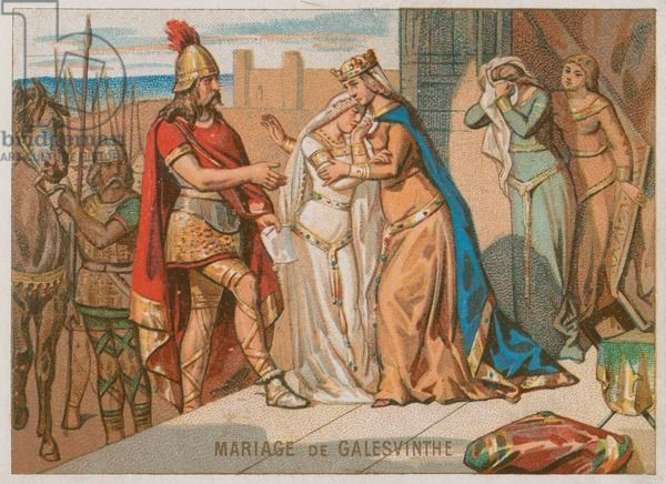 The Marriage of Galeswinthe to King Chilperic I (chromolitho)- GALSWINTHE, 2)…