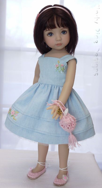 Softly Spring, an 8-pce. ensemble for Dianna Effner's Little Darling dolls, dress is sewn out of washed cotton chambray with hand embroidered motifs, Cindy Rice Designs.: