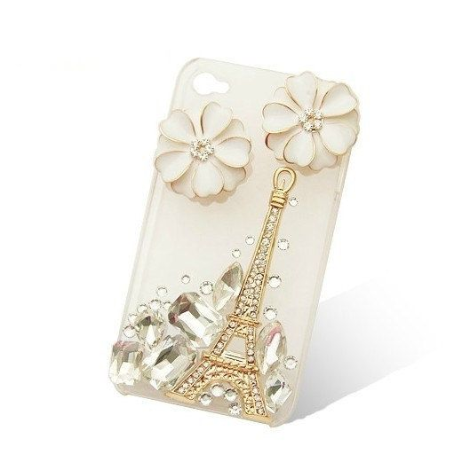 Handmade hard case for HTC Wildfire S: Bling Eiffel tower with elegant white flower (customized are welcome). $19.99, via Etsy.