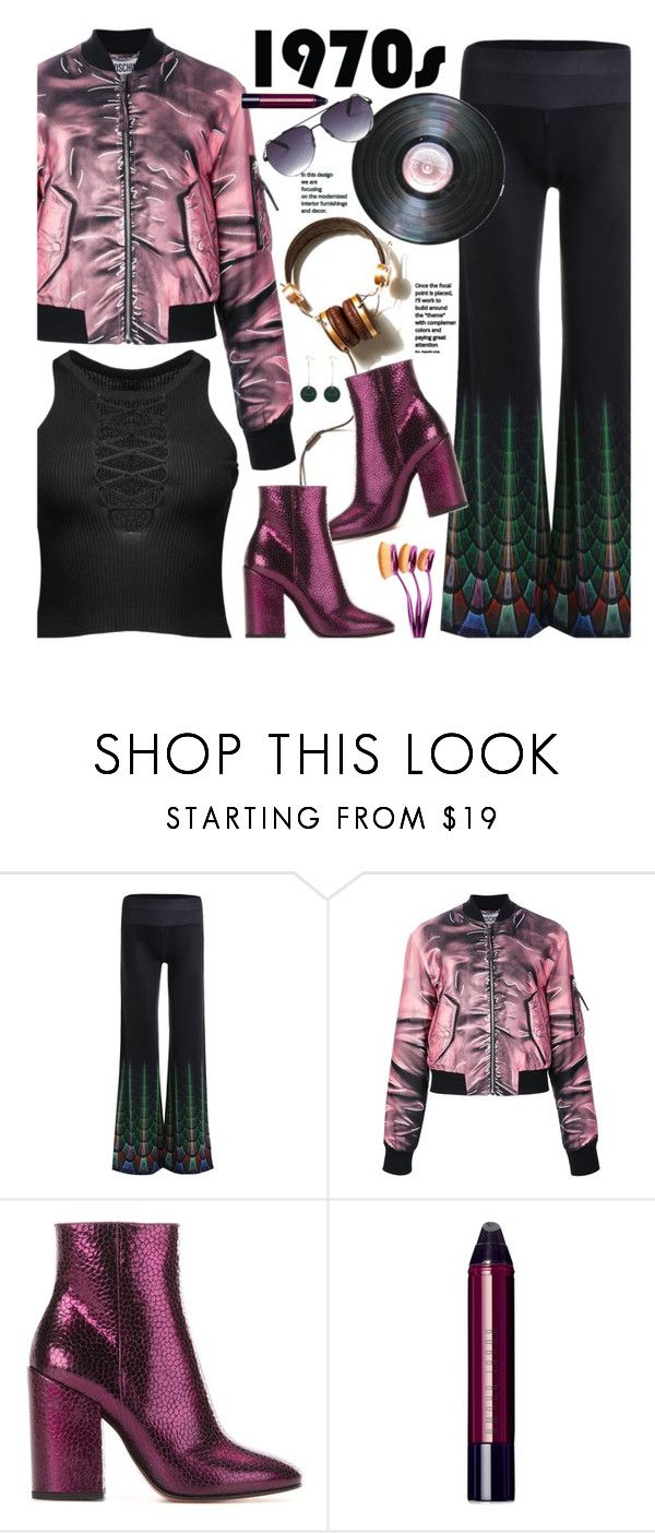 """""""'70 (retro): Gimme! Gimme! Gimme!"""" by beebeely-look ❤ liked on Polyvore featuring Moschino, Vichy, Dries Van Noten, Bobbi Brown Cosmetics, metallic, retro, laceup, sammydress and bomberjackets"""