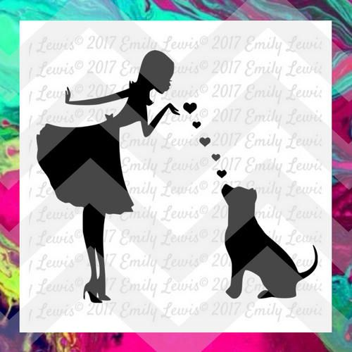 girl and dog silhouette pet svgs dog svgs vet tech svg