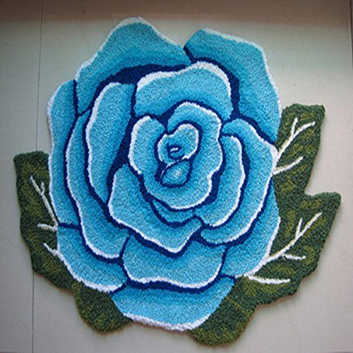 Ustide 1 Rose Carpet Handmade Rug Anti-slip Mat Wahsable Rug Blue Rose Rug Rustic Area Rug Floor Mats Kitchen Area Rugs Bathroom Rug 2×3 #handmade Ustide 1 Rose Carpet Handmade Rug Anti-slip Mat Wahsable Rug Blue Rose Rug Rustic Area Rug Floor Mats Kitchen Area Rugs Bathroom Rug 2x3 The blue rose rug has high quality and floral pattern design,suits for bathroom,doorway,chair,make you feel the blue sky.   Use about 30 degrees below the water cleaning, neutral detergent cleaning, clean..