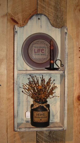Primitive Wood Vertical Wall Shelf Cubby