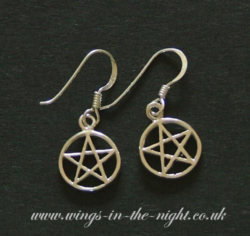Wiccan PENTACLE  Silver toned Earrings