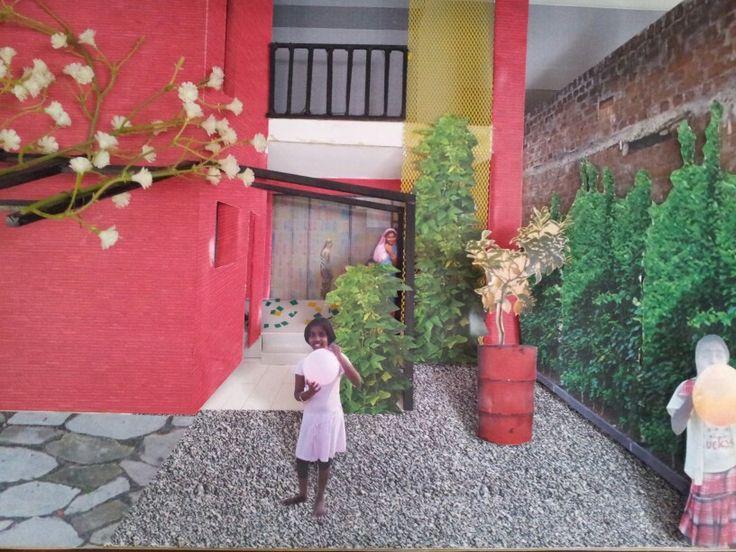 Byggt perspektiv innergård, från mitt examensarbete i arkitektur