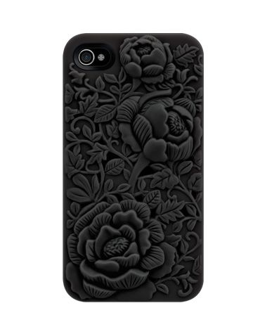 blossom: Embossing Case, Iphone Cases, Iphone 4S, Iphone 4 4S, Unique Design, Iphone Cover, Black Roses