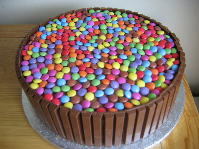 Chocolate smartie cake. My eldest son said I should make this for my youngest son's birthday.