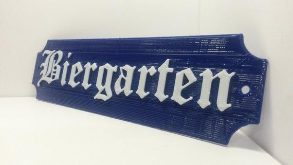 BIERGARTEN Beer Garden Sign German Oktoberfest Party Decor Bavarian Plaque