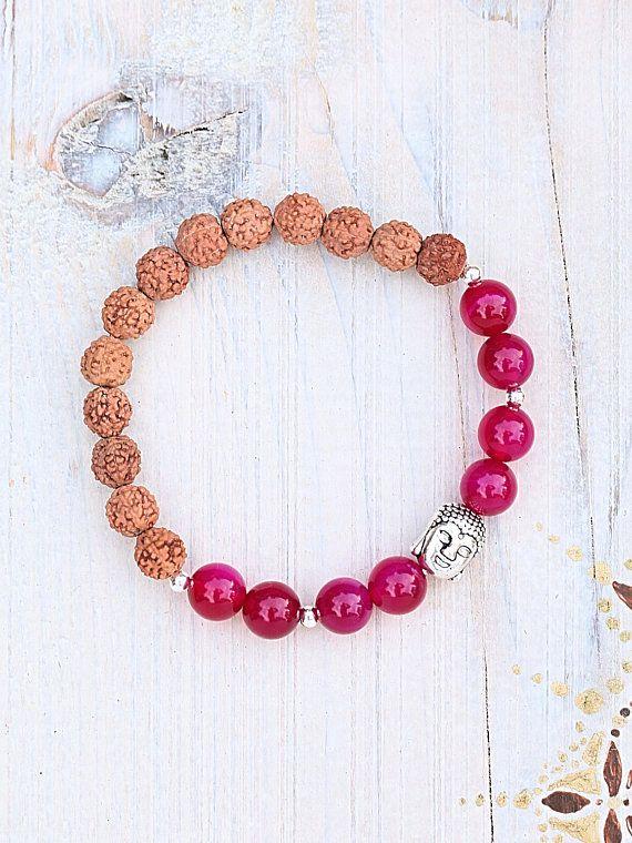 Rudraksha bracelet/Pink Agate/Fucsia/seeds/indian/healing