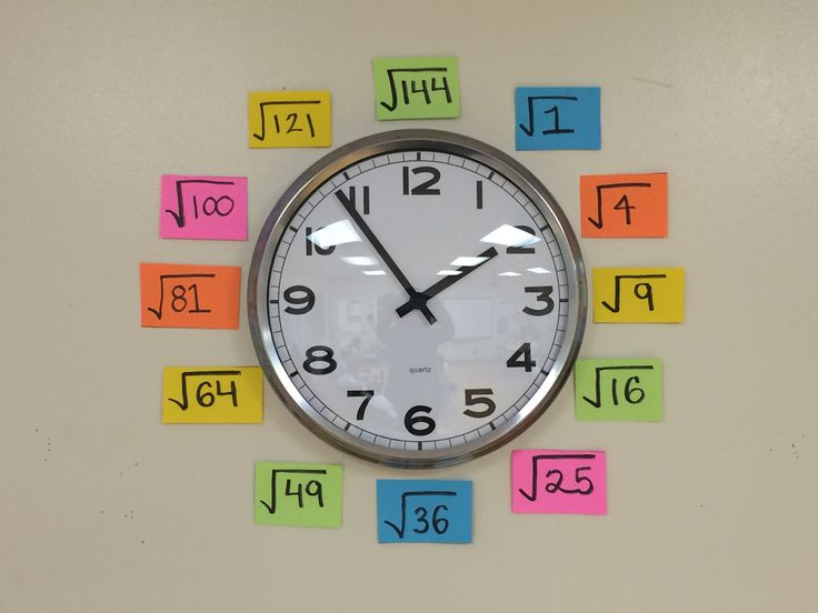 """Use your classroom clock as an """"anchor chart"""" for quick square root reference"""