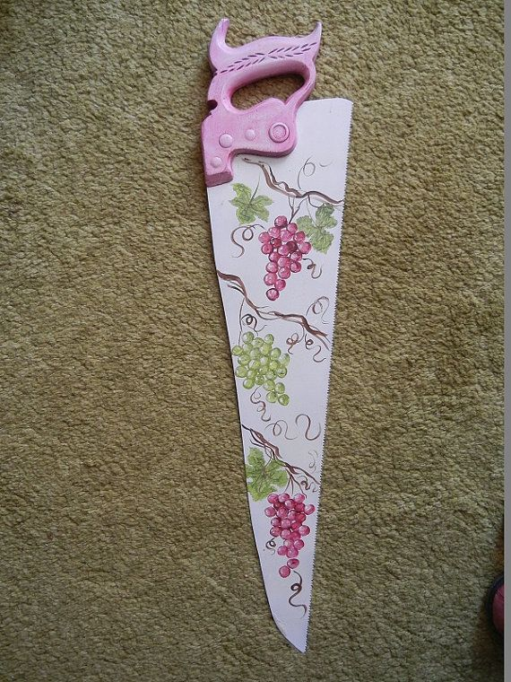 Antique Vintage Hand saw hand painted  with grapes by GroovyRejuvy, $30.00