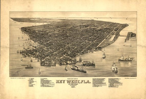 1884 Key West FLORIDA  Island View Boats Atlantic by StoneyPrints, $15.00