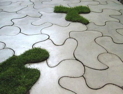 Fantastic  Conrecrete Tiles Flooring for Garden  Examples