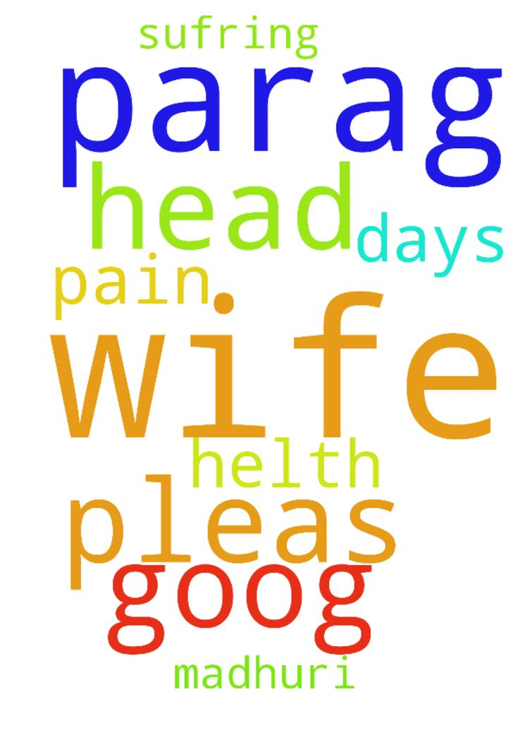 I am parag .i request to prayer for my wife she has - I am parag .i request to prayer for my wife she has been sufring head pain from 7 days so pleas pray for my wife madhuri for goog helth Posted at: https://prayerrequest.com/t/LxJ #pray #prayer #request #prayerrequest