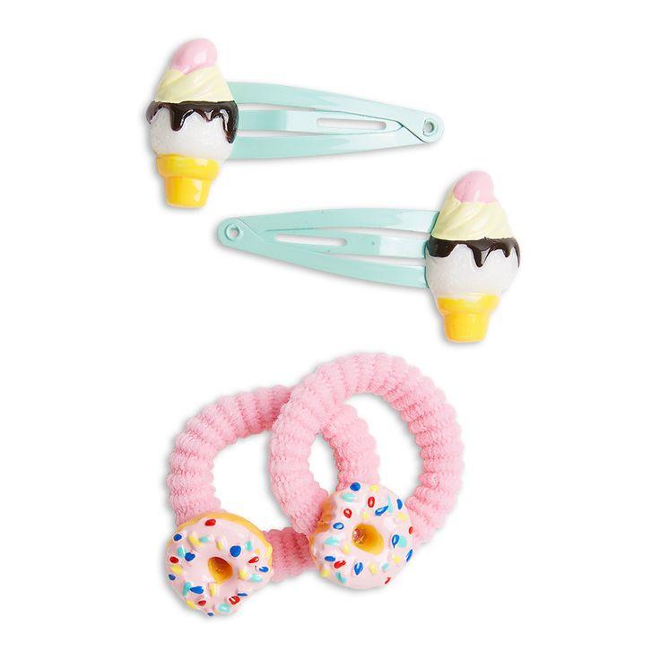 Matcha ett glatt humör med hårklämmor och snoddar prydda med glasstrutat och donuts.