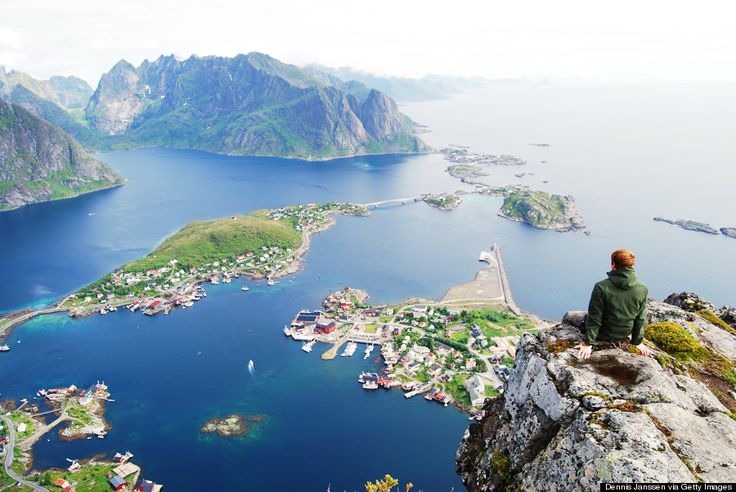 Reine, Norway  Conquer some of Norway's best hikes. One, which takes hikers up the mountain called Reinebringen, leads adventurers to breathtaking views of the island chain from above.  You'll also catch aurora borealis from about September through April on chilly, clear nights.