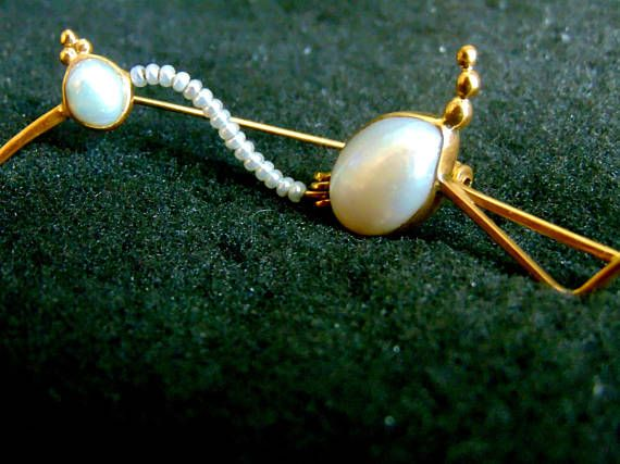 18k Gold Swan BroochSolid Yellow Gold and Pearl Brooch