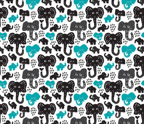 Cute Indian Elephants Oriental Blue Ilration Print Fabric By Little Smilemakers Studio On Spoonflower