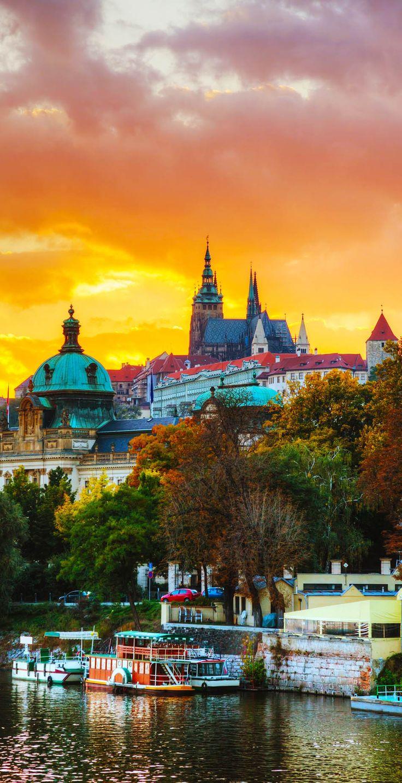 Amazing Sunset over Famous Prague Castle, Czech Republic