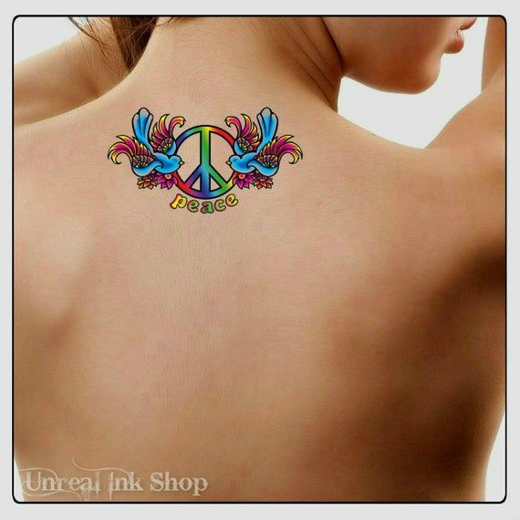 Temporary Tattoo Heart Peace Sign Waterproof Fake Tattoos Thin Durable   – Products