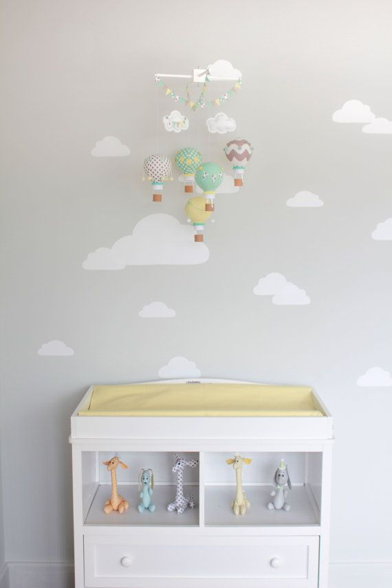 Gender Neutral Baby Mobile Hot Air Balloon Travel Theme