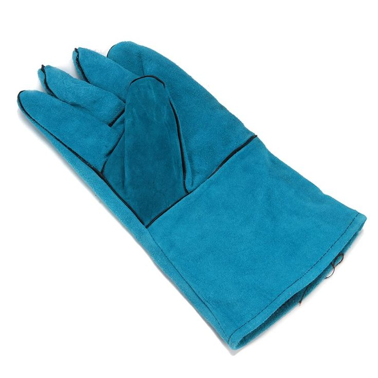 NEW Wearable High Temperature Welding Blue Cowhide Long Leather Welding Gloves Workplace Safety Hand Protection #Affiliate