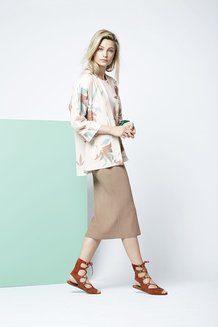 Printed Kimono with a revel tee matched with the knitted pencil skirt.  Fashion // clothing // woman // inspiration // www.dante6.com