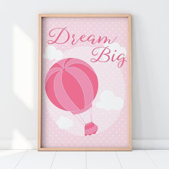 Dream big printable quote wall art inspirational print