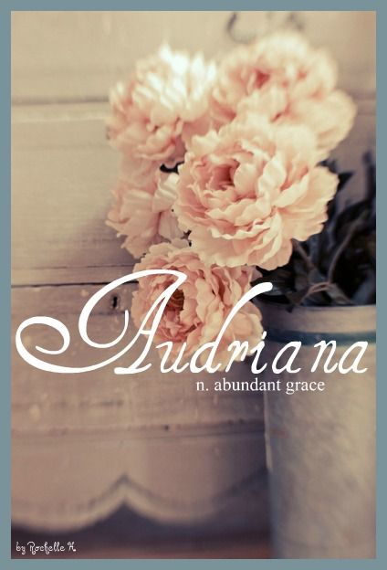 Baby Girl Name: Audriana. Meaning: Abundant Grace; Strength. Origin: English; German. http://www.pinterest.com/vintagedaydream/baby-names/