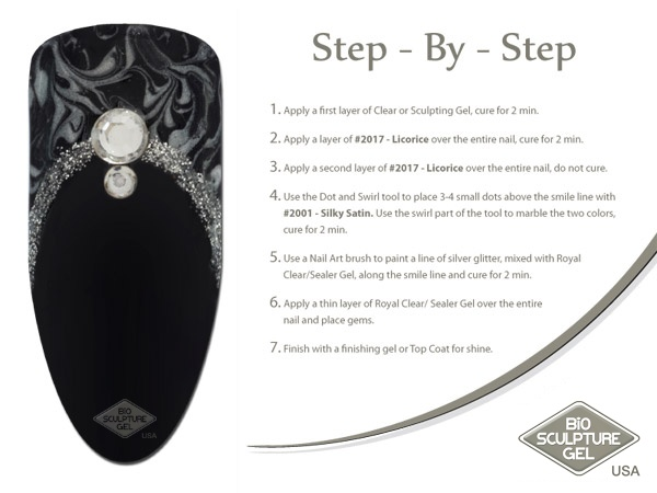 Black, silver, and marble step-by-step