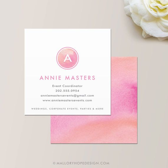 Watercolor Square Business Card by © MalloryHopeDesign.com