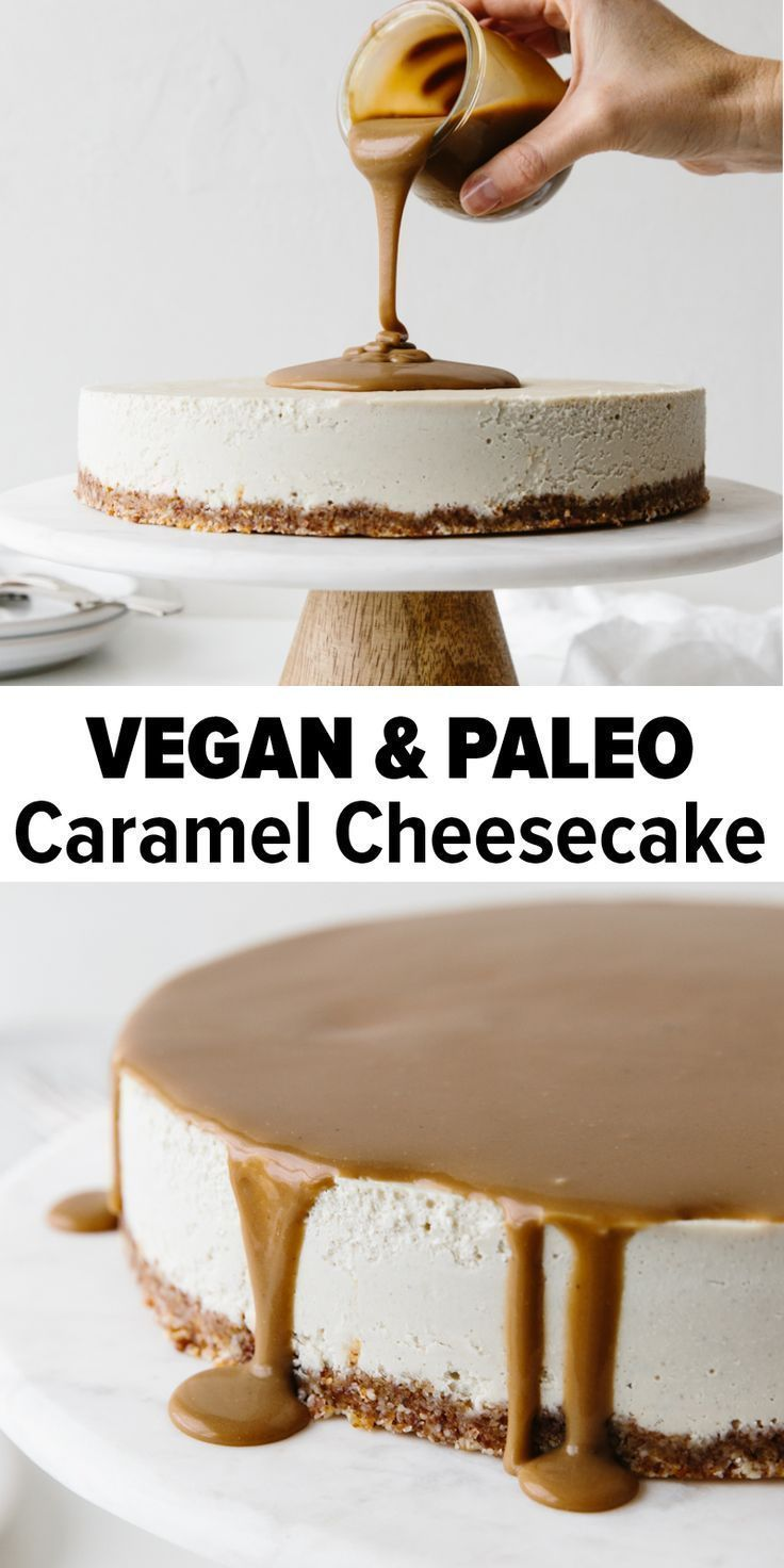 This Vegan Caramel Cheesecake recipe is drizzled with the most