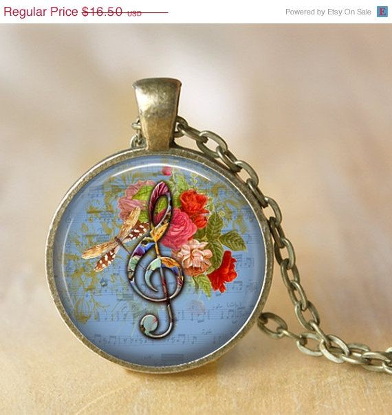AFTER CHRISTMAS SALE Musical Pendant Necklace by LiteraryArtPrints  #necklaces #jewerly