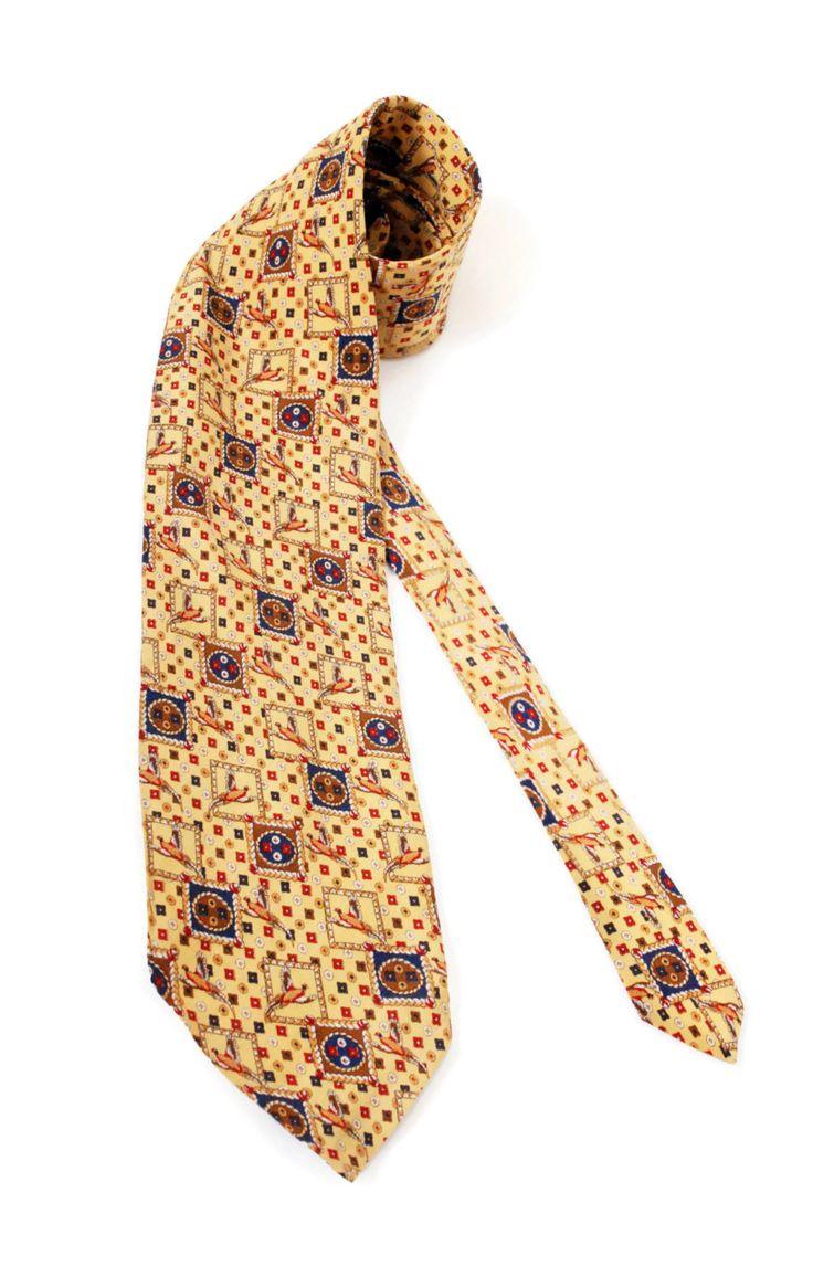 Silk Tie Elegant Style, Yellow Tie/ Vintage Man's Accessories by SixVintageChicks on Etsy