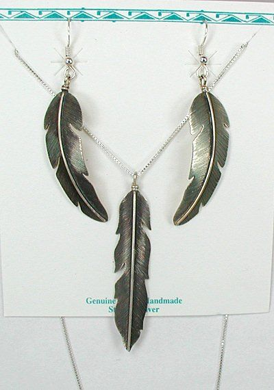 Native American Navajo Sterling Silver Feather Earrings And Pendant Set By Jeffrey Nelson Feathers In 2018 Pinterest Jewelry