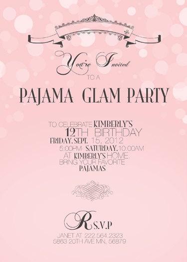 Pajama Glam Party. $15.00, via Etsy.