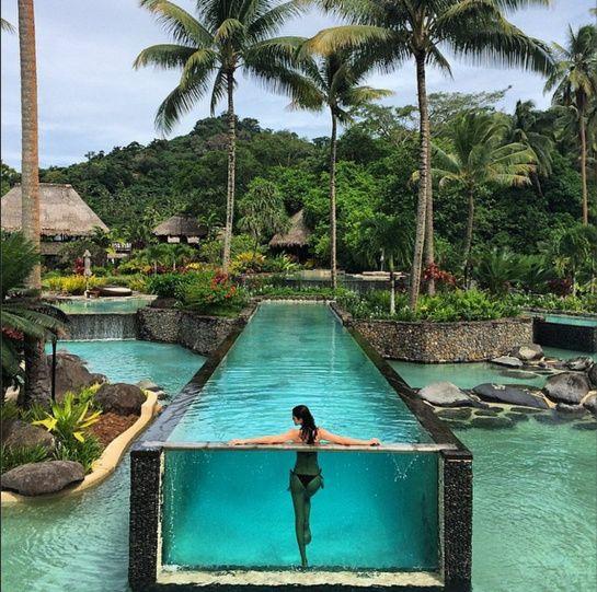 En vacances sur les îles Fidji, Amanda Wellsh séjournait au Laucala Resort jeudi 24 avril.