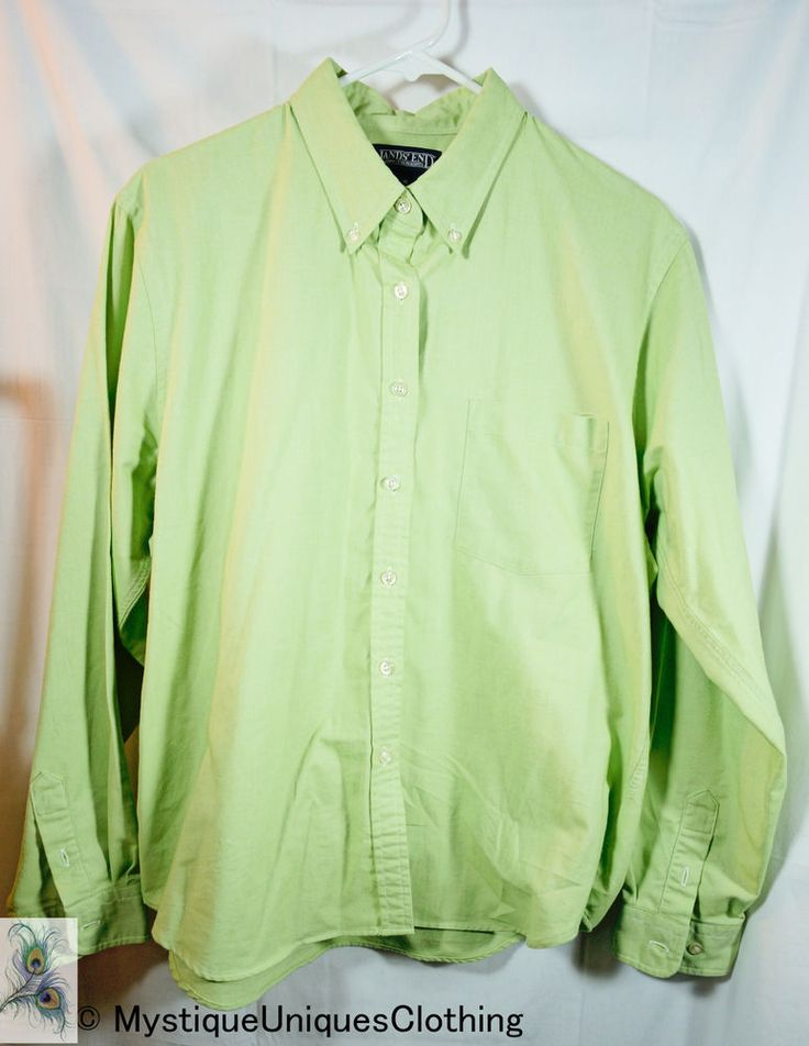 Lands End Womens Top Size 16 Regular Green Oxford Button Down Long Sleeve Shirt #LandsEnd #ButtonDownShirt
