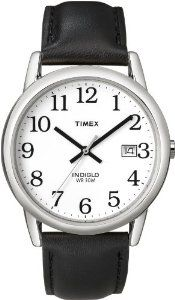 #5: Timex Men's T2H281 Easy Reader Black Leather Strap Silver-Tone Case Watch