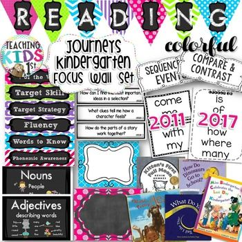HUGE SET FOR JOURNEYS KINDERGARTEN READING FOCUS WALL!! {Colorful} PINK, PURPLE, GREEN & BLUE READING FOCUS WALL FLIP CHARTS, BANNERS AND EDITABLE LABELS THIS PRODUCT HAS BEEN UPDATED TO INCLUDE 2011 AND 2014/2017 WORDS TO KNOW AND BIG BOOK FLIP CHARTS.