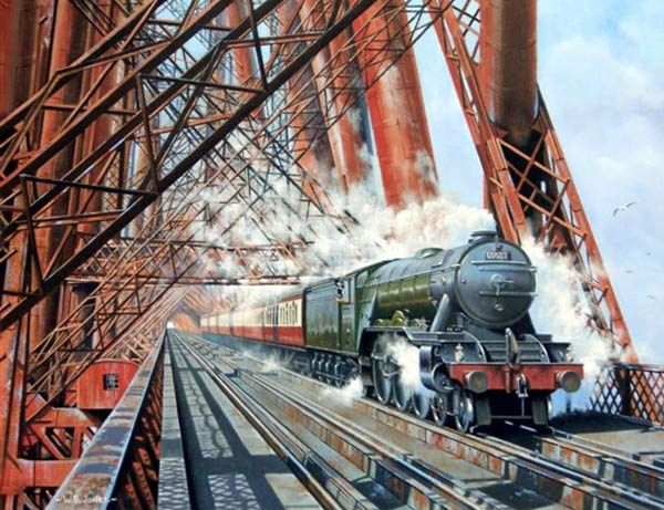 Fine Art Prints of Railway Scenes & Train Portraits - Hyperion over the Forth by Wynne Jones
