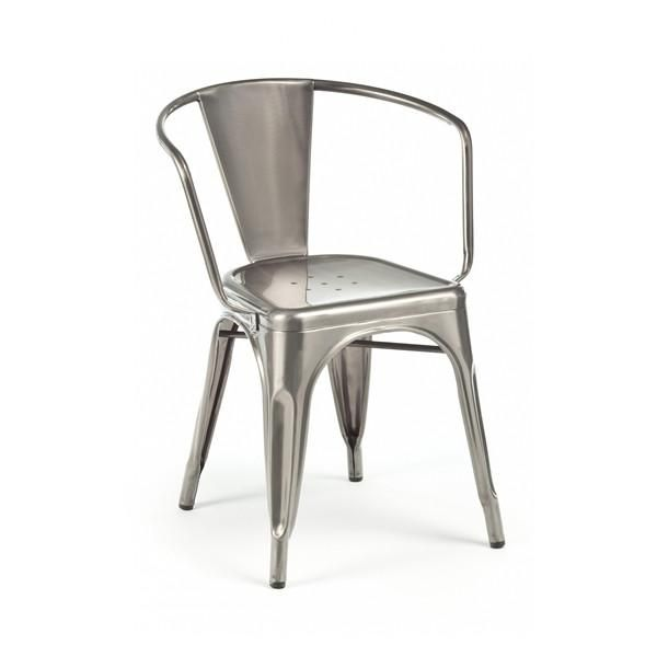 Dreux Clear Gunmetal Stackable Steel Dining Chair Set Of 4 Frenchindustrial The Dreux Steel Stackable Dini Dining Chairs Steel Dining Chair Dining Chair Set