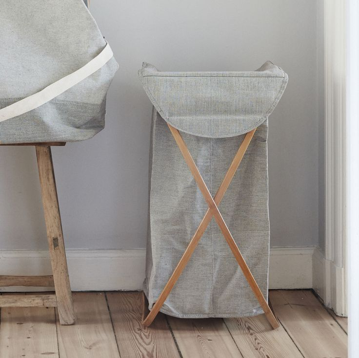 Large Grey Fabric Laundry Basket in a natural Bamboo Frame. With a lift up lid and foldable frame this is stylish, practical storage.