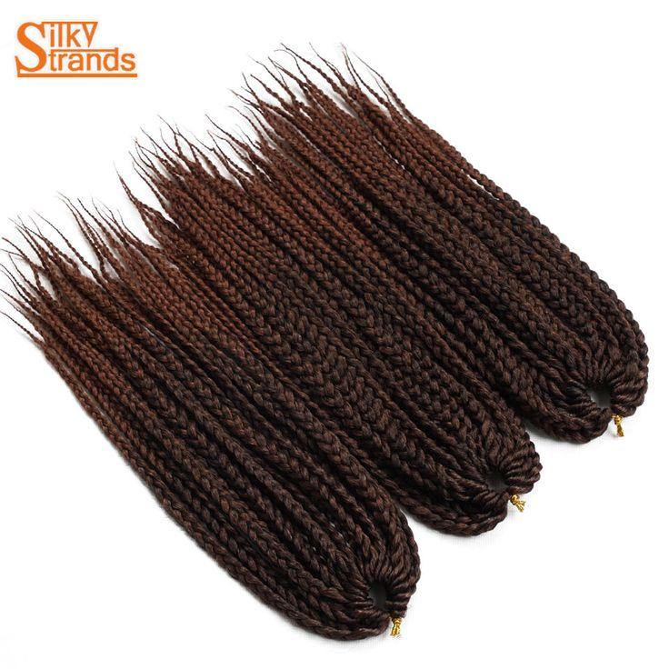 Silky Strands Medium Box Braids Crochet Braids Hair Extensions Ombre Synthetic Kanekalon Fiber Braiding Hair Bulk 14 18 24inch #Affiliate