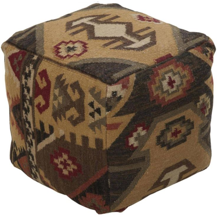 18 Adobe Brown and Shady Taupe Southwestern Feel Wool Square Pouf Ottoman