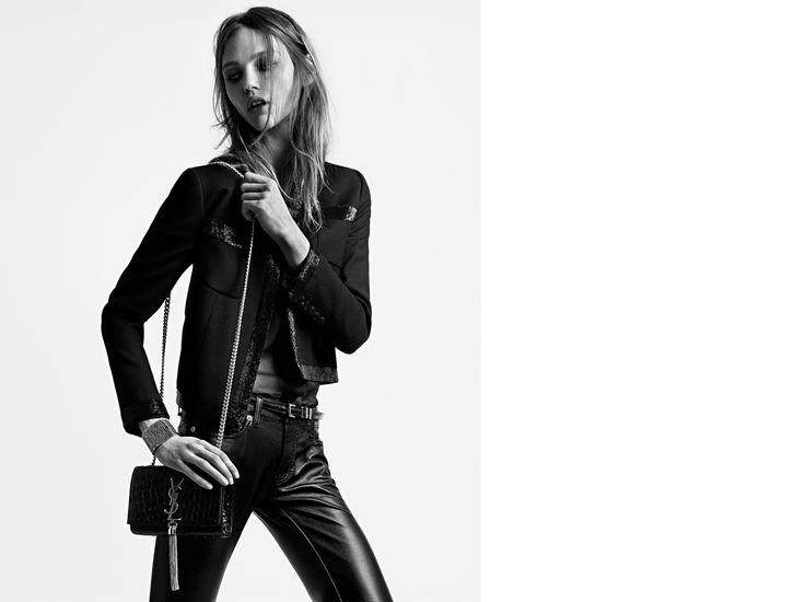 Classic Medium Monogram Saint Laurent Tassel Satchel In Black Crocodile Embossed Leather